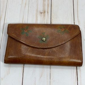 Handbags - Vintage leather floral boho wallet